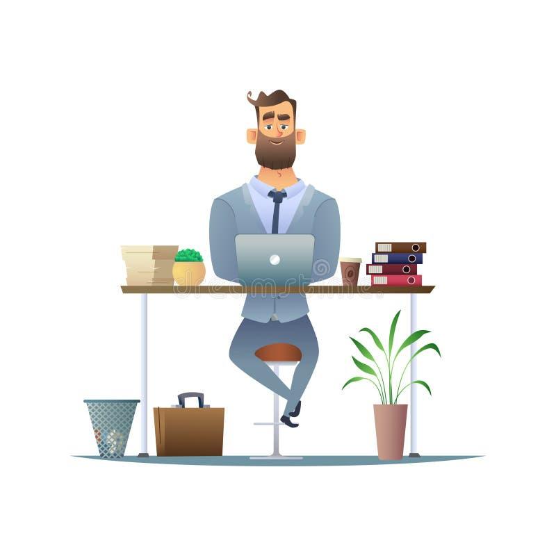 Серьезный бородатый бизнесмен работая на столе на компьтер-книжке Менеджер или работник в рабочем месте в офисе Бизнес иллюстрация штока