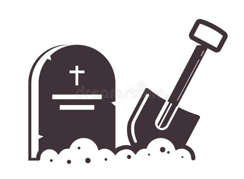 Серьезный значок с лопаткоулавливателем вставленным в землю иллюстрация штока