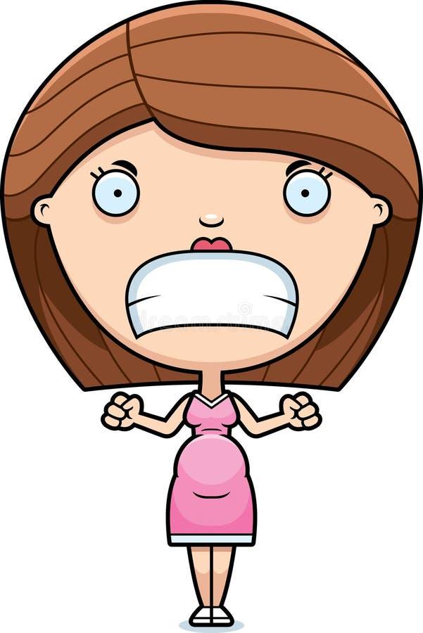 Сердитая беременная женщина шаржа иллюстрация вектора