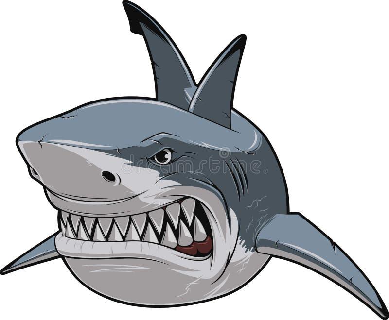 Сердитая белая акула иллюстрация вектора