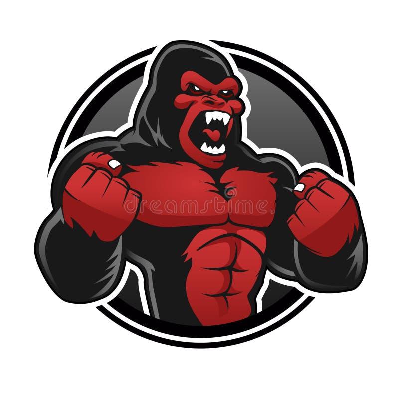 Сердитая большая горилла Красное gorilla иллюстрация вектора