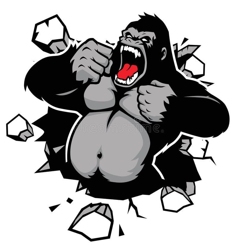 Сердитая горилла ломая стену