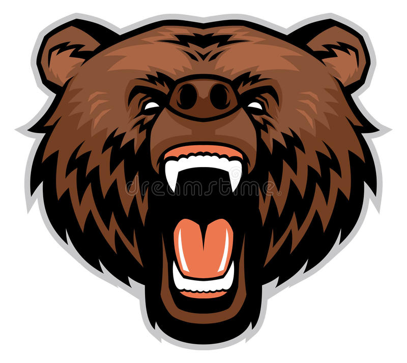 Сердитая голова бурого медведя иллюстрация штока