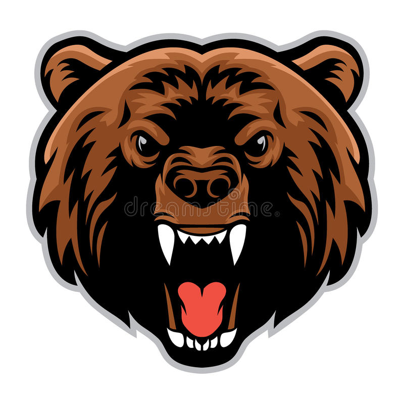 Сердитая голова медведя иллюстрация штока