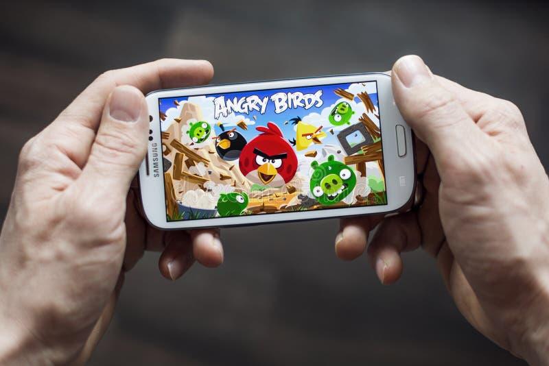 Сердитая игра применения птиц стоковое изображение