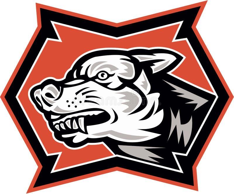 Сердитая дикая собака волка ретро иллюстрация штока
