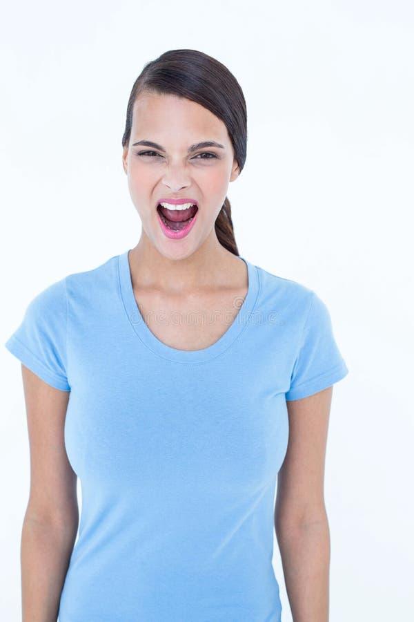 сердитая кричащая женщина стоковое фото rf