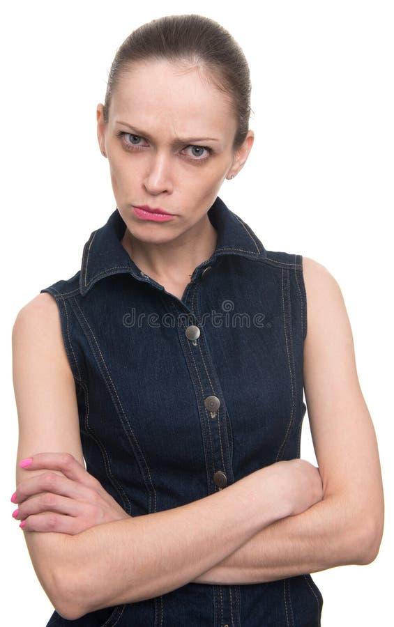 Сердитая обиденная женщина смотря камеру стоковая фотография