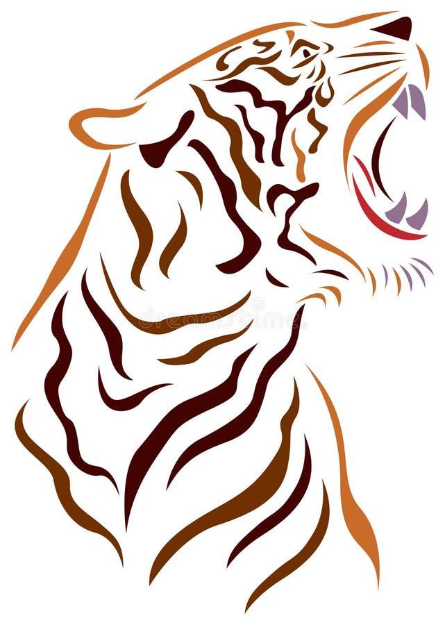 1 сердитая черная белизна версии тигра halftone цвета 2 бесплатная иллюстрация