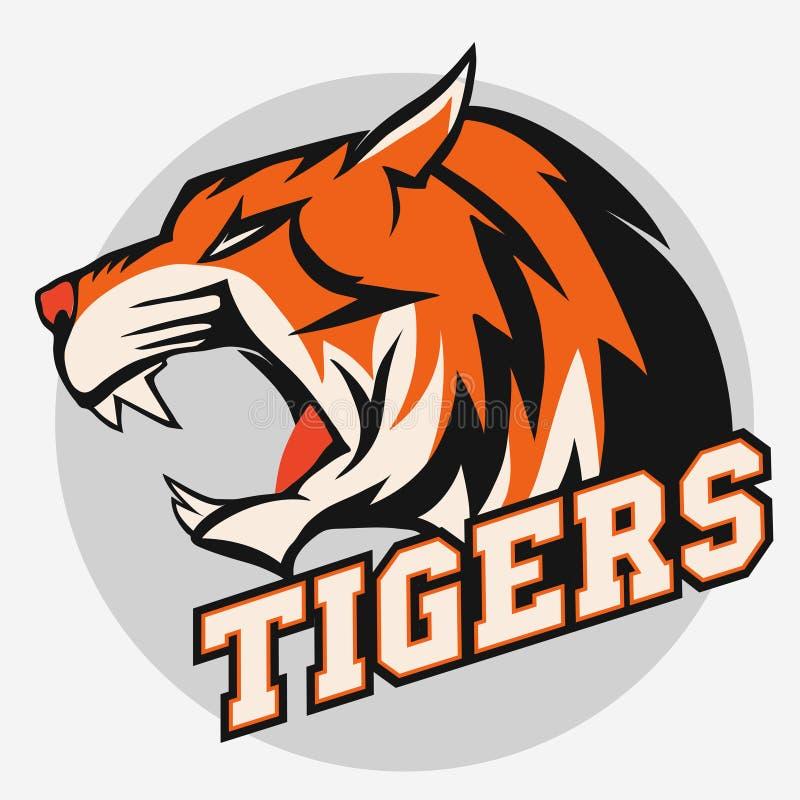 Сердитая эмблема команды спорта тигра иллюстрация вектора