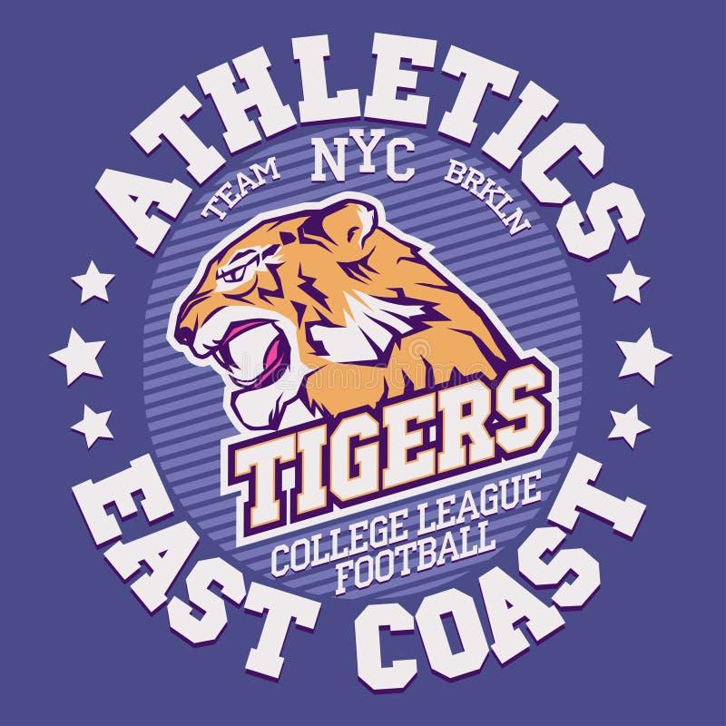 Сердитые графики футболки спорта тигра иллюстрация штока