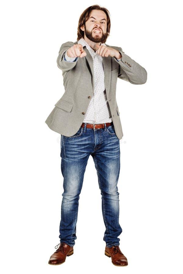 Сердитый бизнесмен показывать движение резания на горле, которое co стоковые изображения rf