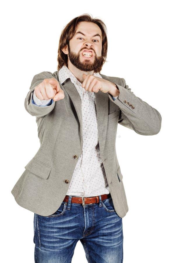 Сердитый бизнесмен показывать движение резания на горле, которое co стоковая фотография rf