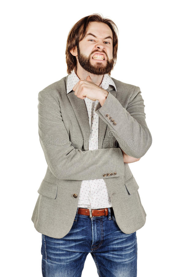 Сердитый бизнесмен показывать движение резания на горле, которое co стоковое фото