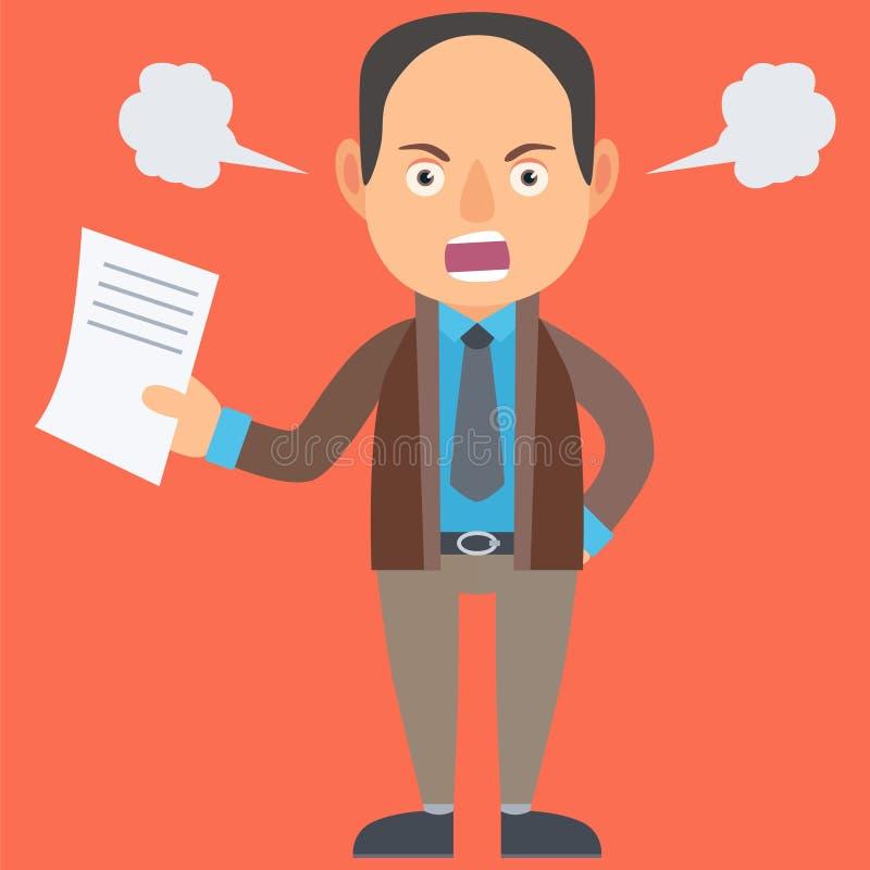 сердитый бизнесмен иллюстрация штока