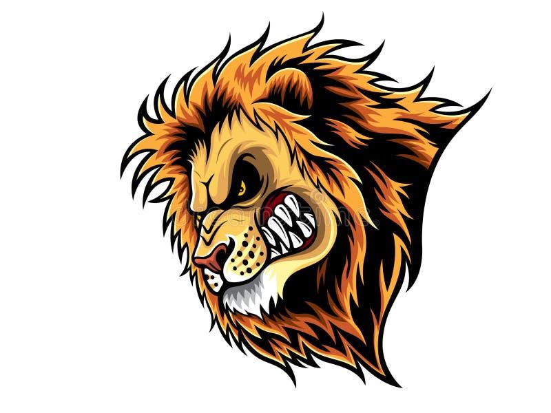сердитый головной львев иллюстрация штока