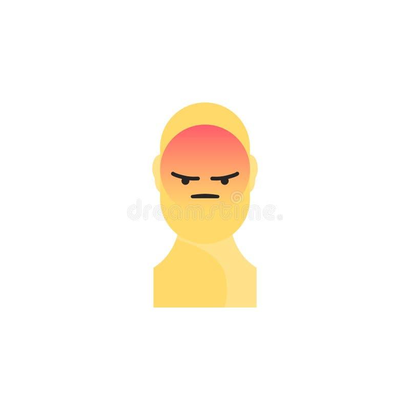 Сердитый желтый smiley Как социальный значок Кнопка для выражать социальное emoji Плоская иллюстрация Eps 10 иллюстрация штока