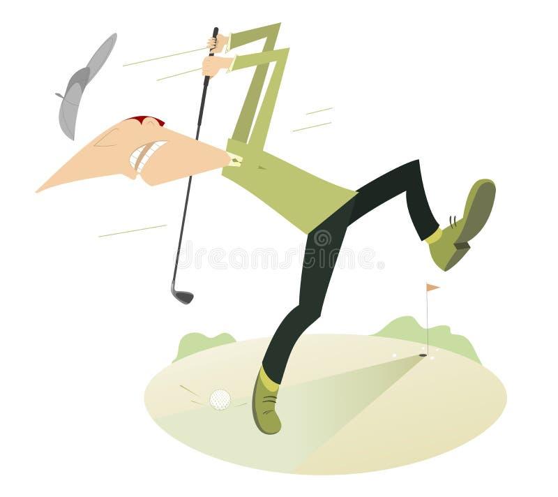 Сердитый игрок в гольф играя гольф бесплатная иллюстрация
