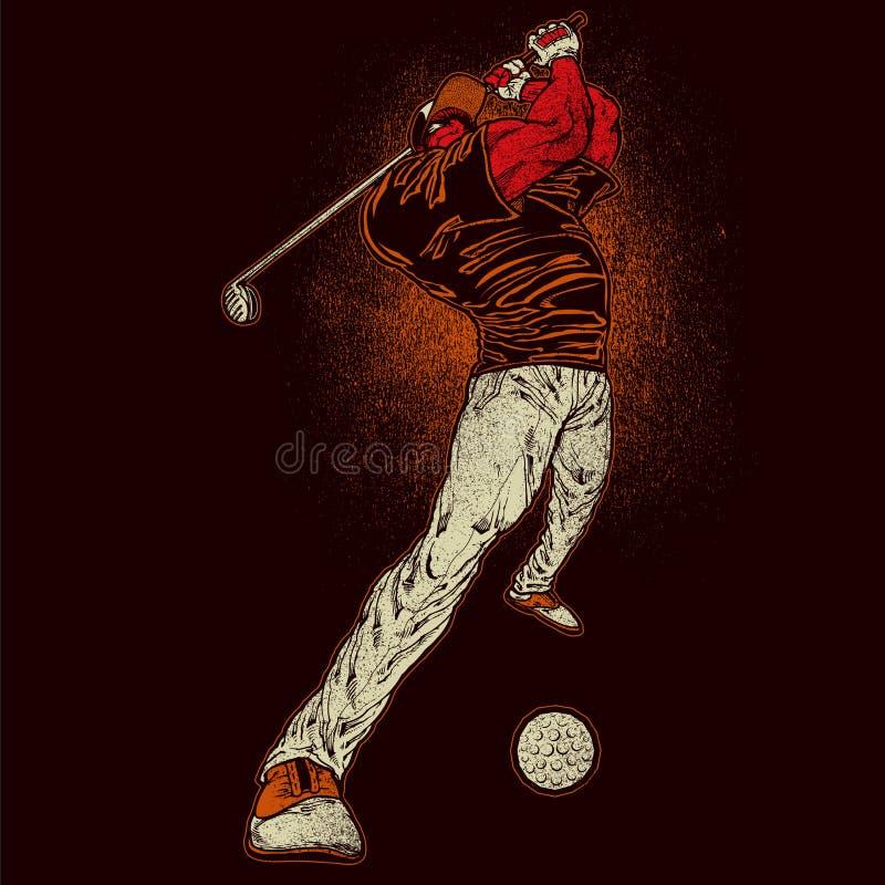 Сердитый игрок гольфа иллюстрация вектора