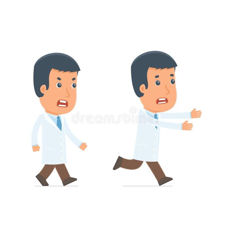 Сердитый и устрашенный доктор характера идет и бежит иллюстрация вектора