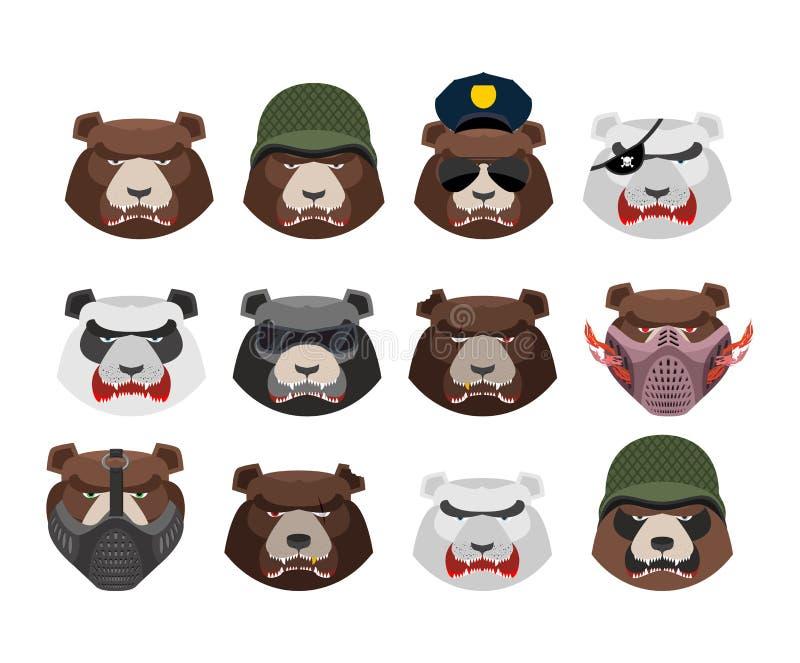 Сердитый комплект медведя Агрессивная голова гризли Isol намордника дикого животного бесплатная иллюстрация