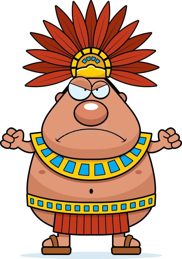Сердитый король ацтека шаржа иллюстрация штока