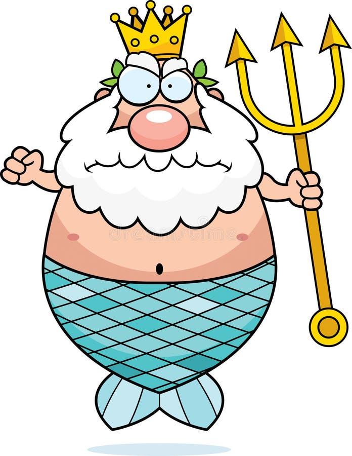 Сердитый король Нептун иллюстрация вектора