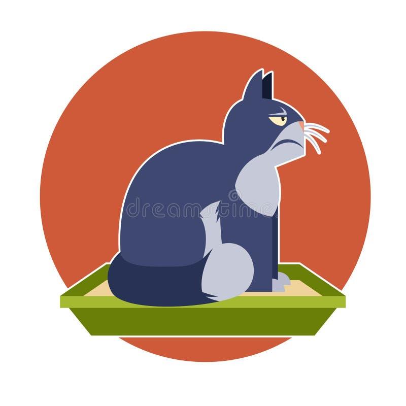 Сердитый кот на туалете иллюстрация вектора