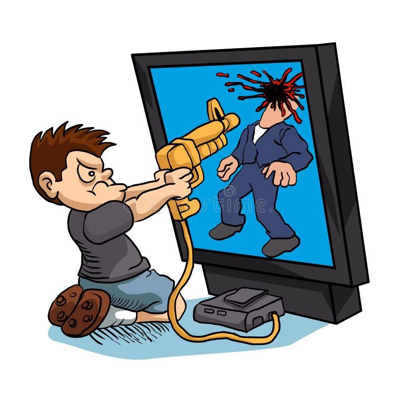 Сердитый мальчик играя видеоигру иллюстрация штока