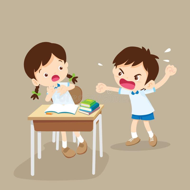Сердитый мальчик крича на друге бесплатная иллюстрация