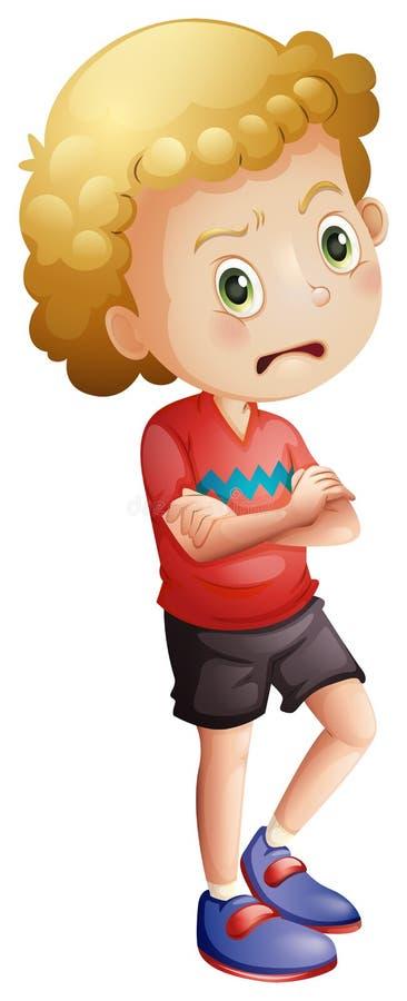 Сердитый мальчик иллюстрация штока