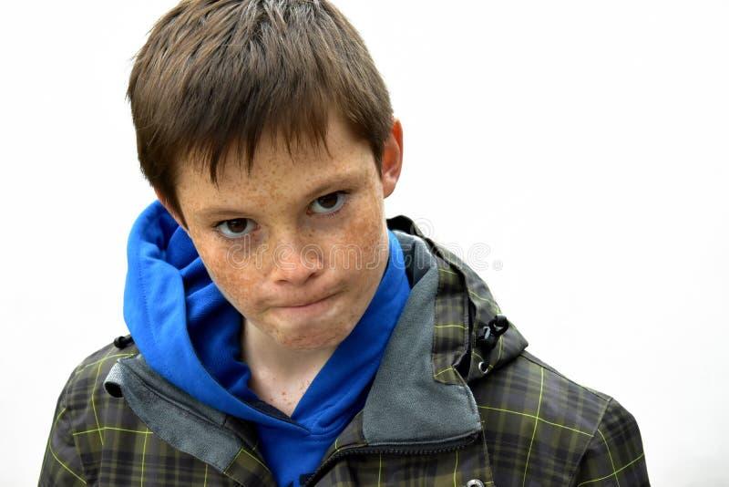 Сердитый мальчик стоковая фотография rf