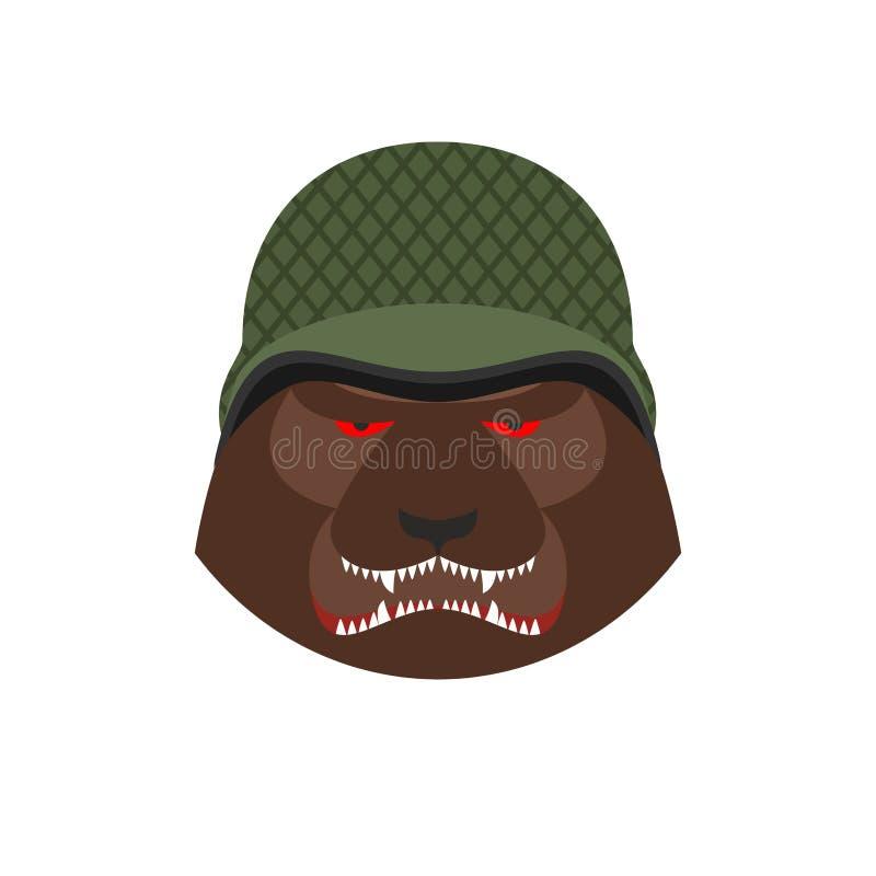 Сердитый медведь в воинском шлеме Агрессивная голова гризли Одичалое ани иллюстрация штока