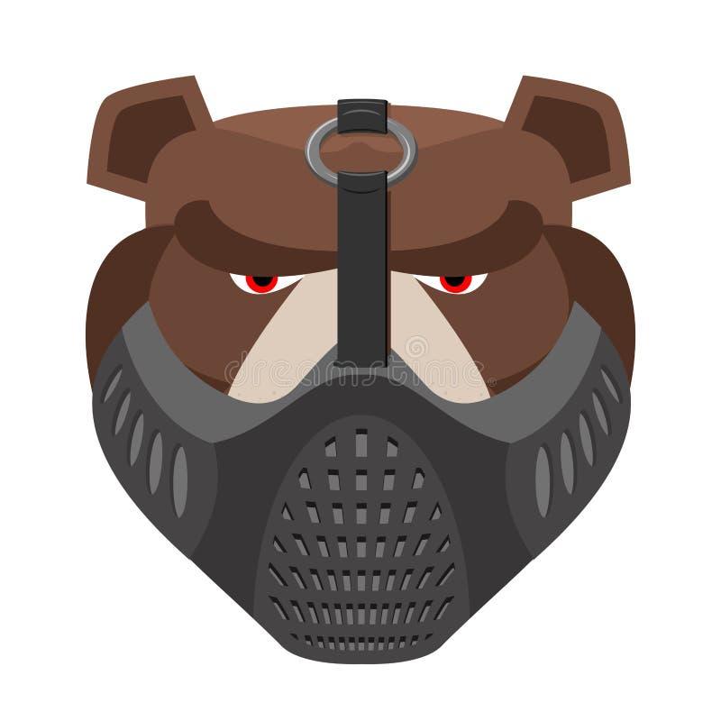 Сердитый медведь в защитной маске Агрессивная голова гризли Одичалое ани иллюстрация вектора