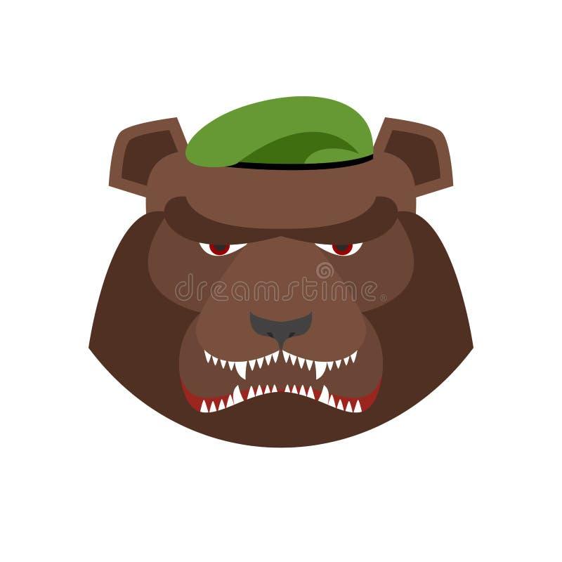 Сердитый медведь в зеленом берете Агрессивная голова гризли животное одичалое бесплатная иллюстрация