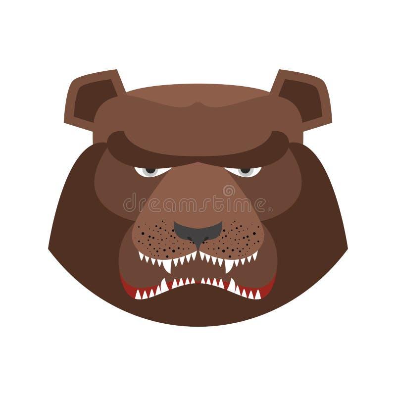 Сердитый медведь в зеленом берете Агрессивная голова гризли иллюстрация штока
