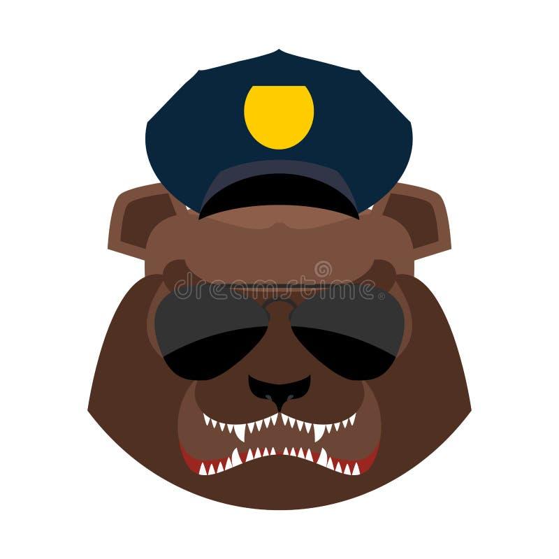 Сердитый медведь в крышке полиции Агрессивная голова гризли Дикое животное m иллюстрация вектора