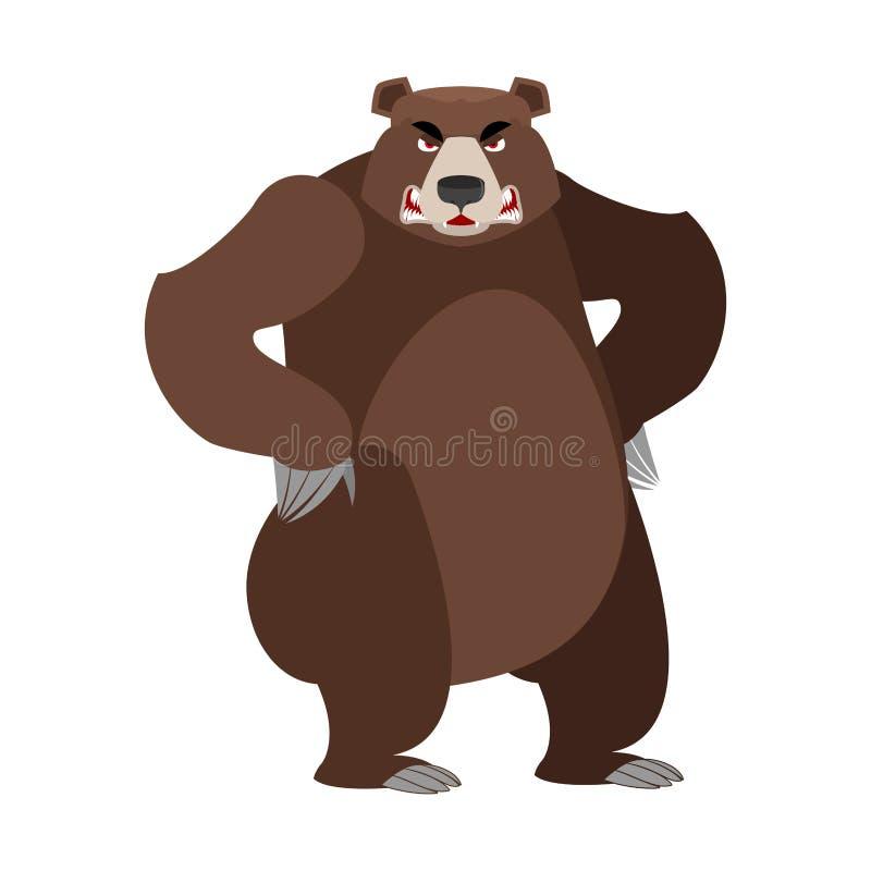 Сердитый медведь на своих задних ногах Агрессивное гризли на белом backgro иллюстрация вектора