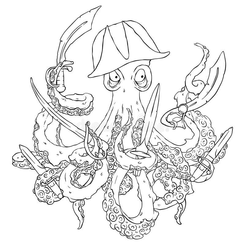 Сердитый пират-осьминог с оружиями Шпага, кинжал, лезвие суммированного иллюстрация вектора