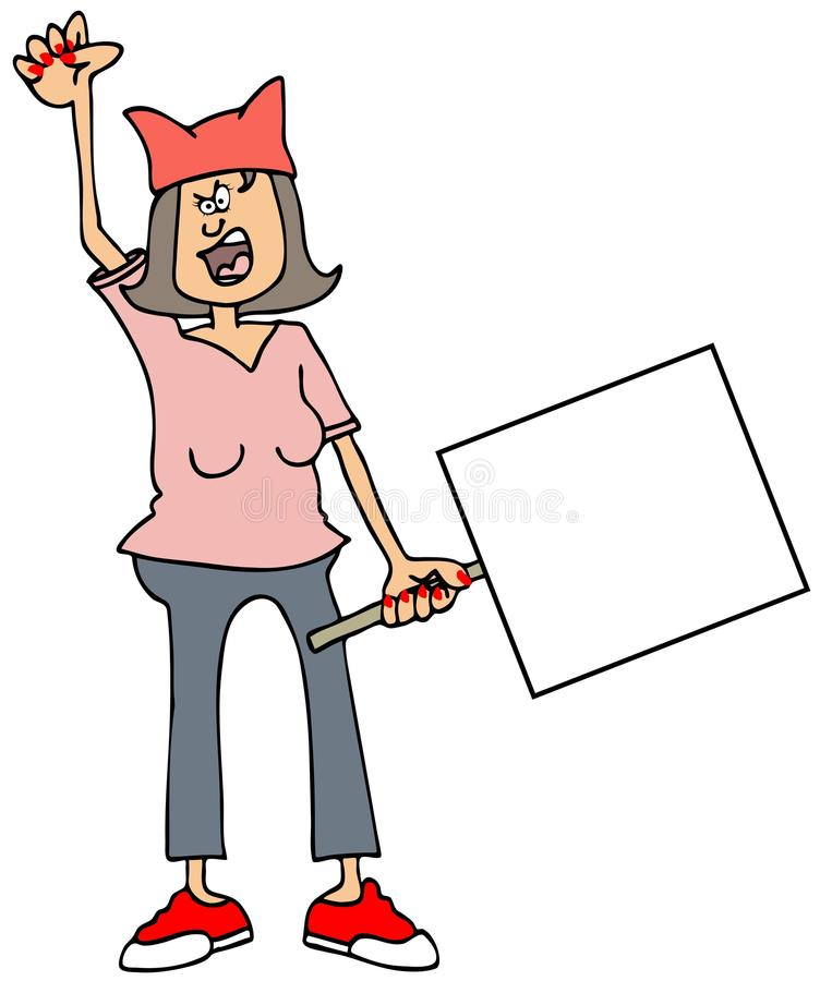 Сердитый протестующий женщины иллюстрация штока
