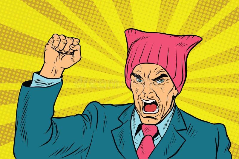 Сердитый ретро феминист политика иллюстрация штока