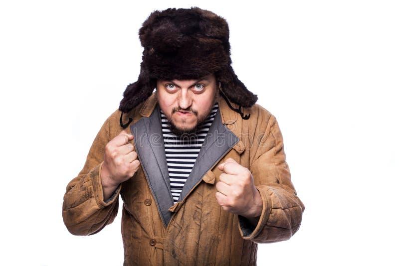 Сердитый русский человек готовый для боя стоковое изображение