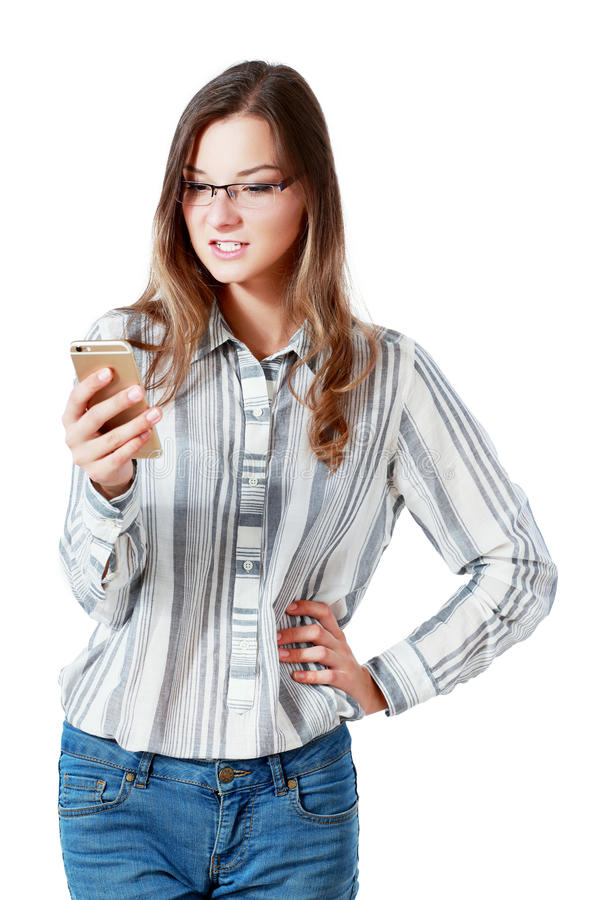 Сердитый телефон женщины стоковое фото