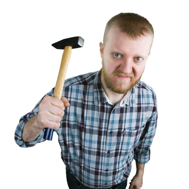 Сердитый человек с молотком стоковое изображение rf