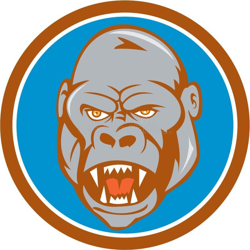 Сердитый шарж круга вершин головки зубчатого колеса гориллы бесплатная иллюстрация