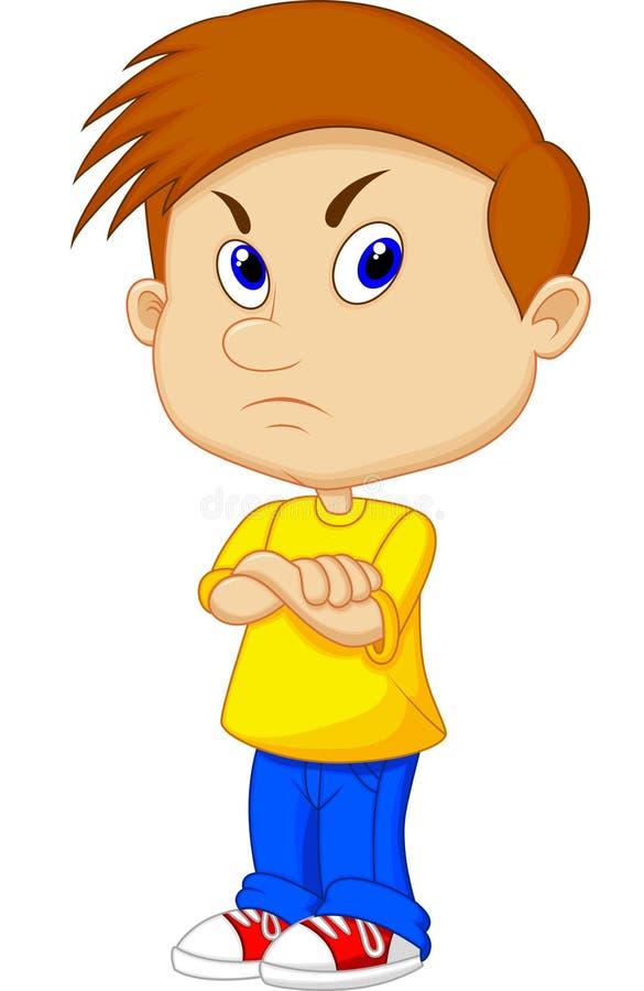 Сердитый шарж мальчика бесплатная иллюстрация