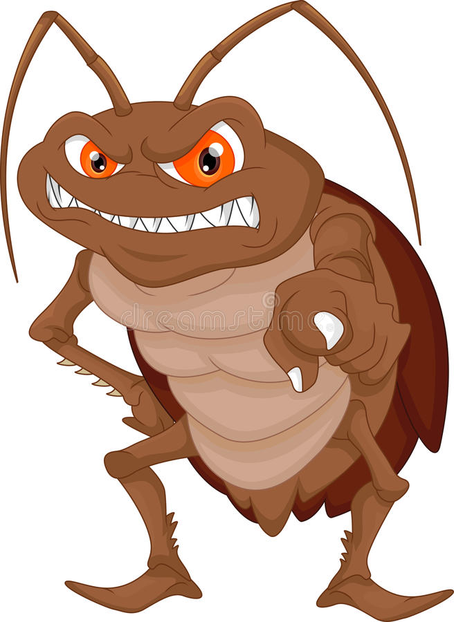 Сердитый шарж таракана иллюстрация вектора