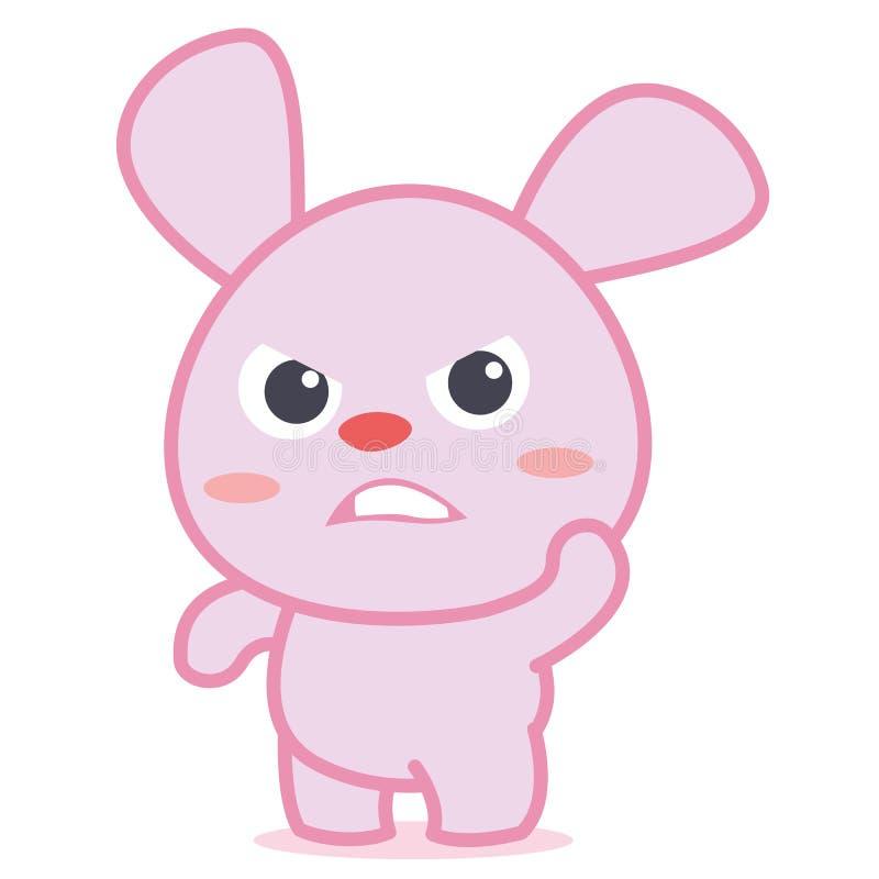 Сердитый шарж характера кролика иллюстрация вектора