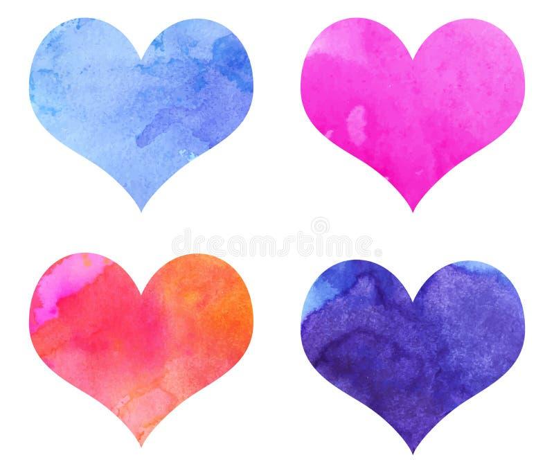 Сердца акварели бесплатная иллюстрация