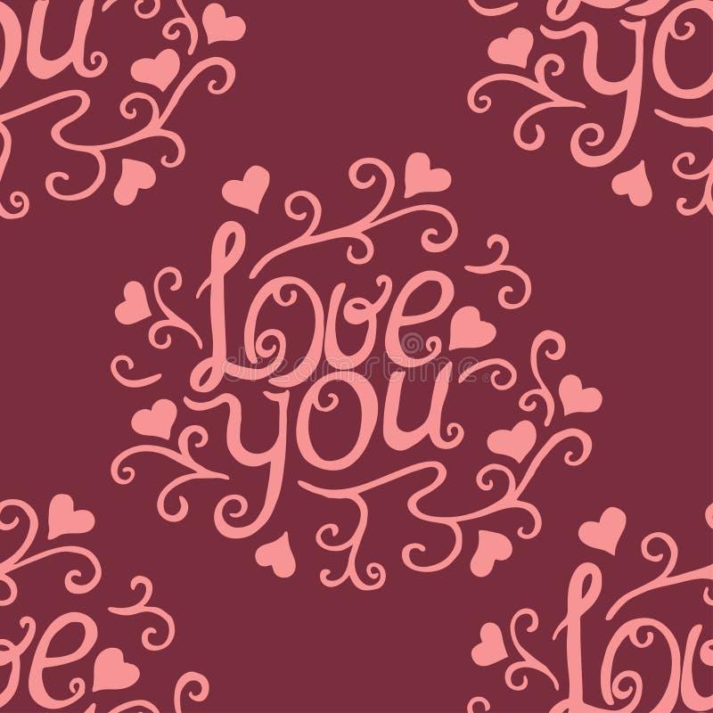 Сердца валентинки безшовные и любят вас картина иллюстрация вектора